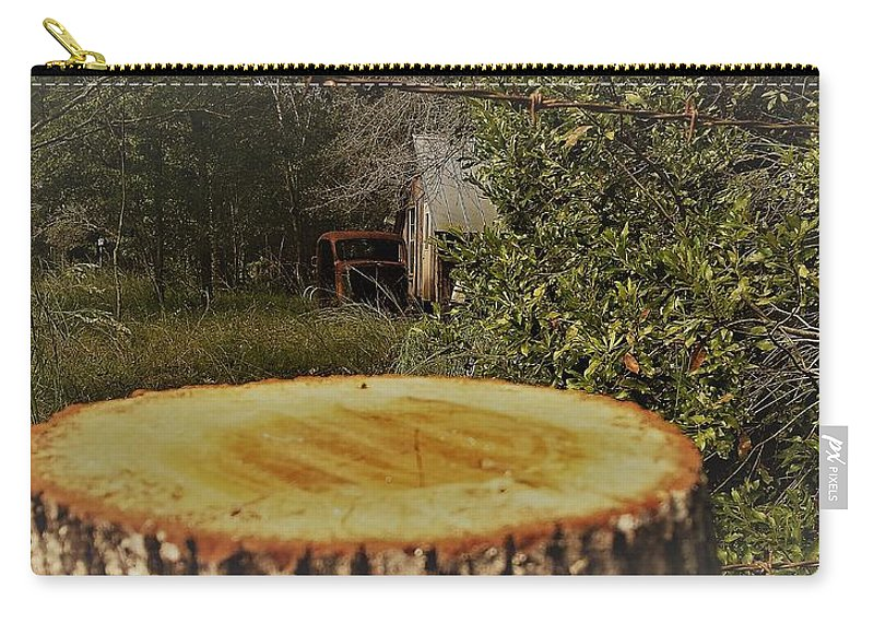 Country Barn Auto Car Stump Old Carry-all Pouch featuring the photograph Stump Barn Car by Lee Barrett