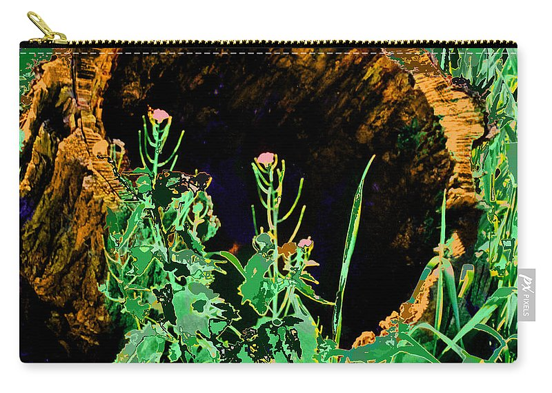 Forest Carry-all Pouch featuring the digital art Stump Transformed by Ian MacDonald