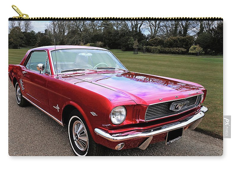 Ford Mustang Carry-all Pouch featuring the photograph Stunning 1966 Metallic Red Mustang by Gill Billington