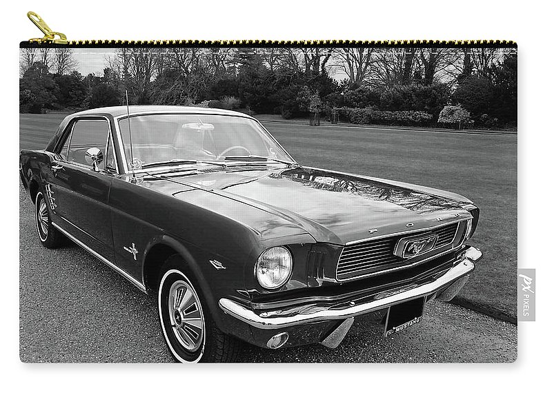 Ford Mustang Carry-all Pouch featuring the photograph Stunning 1966 Mustang In Black And White by Gill Billington