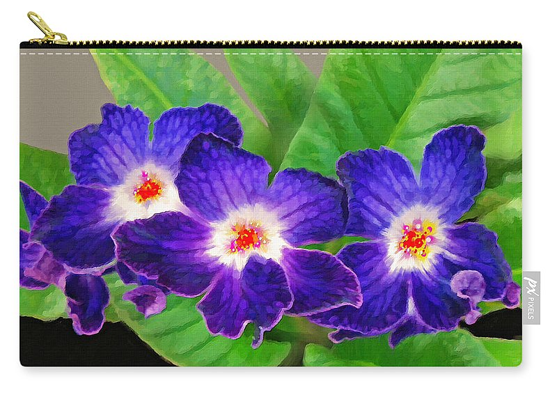 Flowers Carry-all Pouch featuring the painting Stunning Blue Flowers by Susanna Katherine