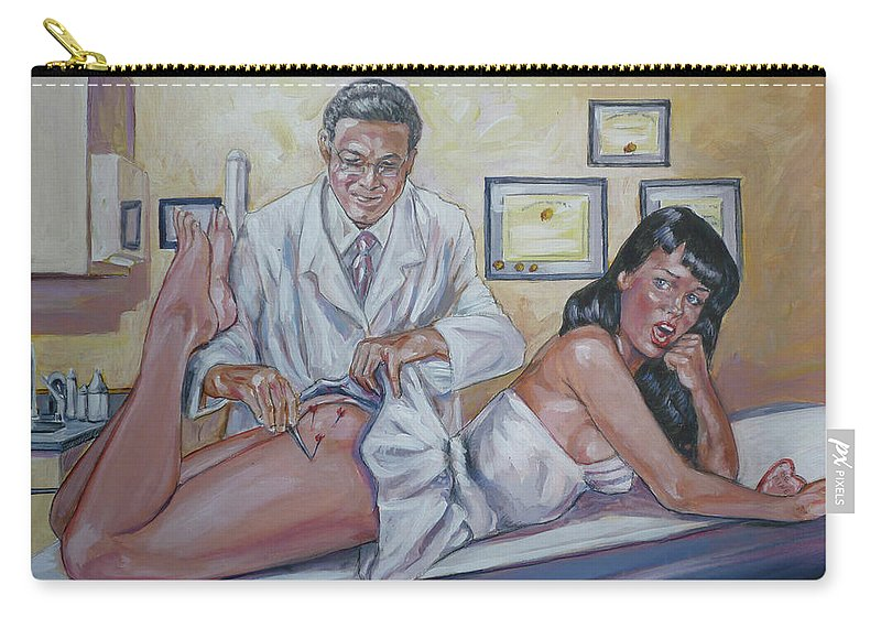 Bettie Page Carry-all Pouch featuring the painting Stupid Cupid by Bryan Bustard