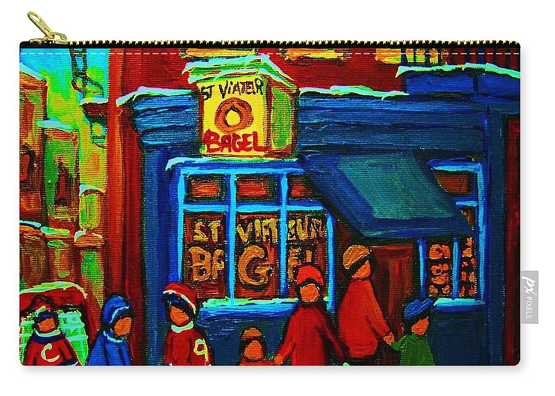 Montreal Bagelshop Carry-all Pouch featuring the painting St.viateur Bagel And Hockey Kids by Carole Spandau