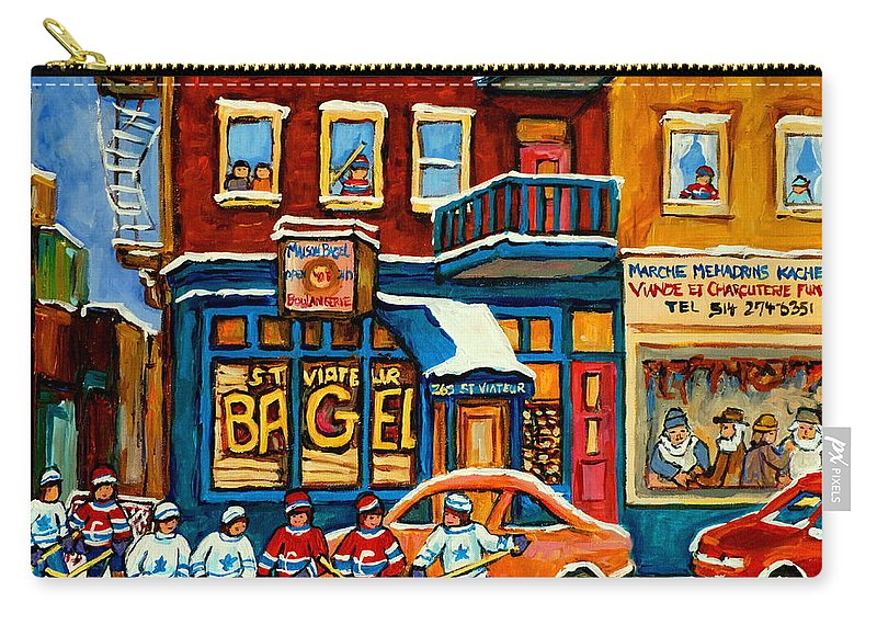 St.viateur Bagel Carry-all Pouch featuring the painting St.viateur Bagel Hockey Montreal by Carole Spandau