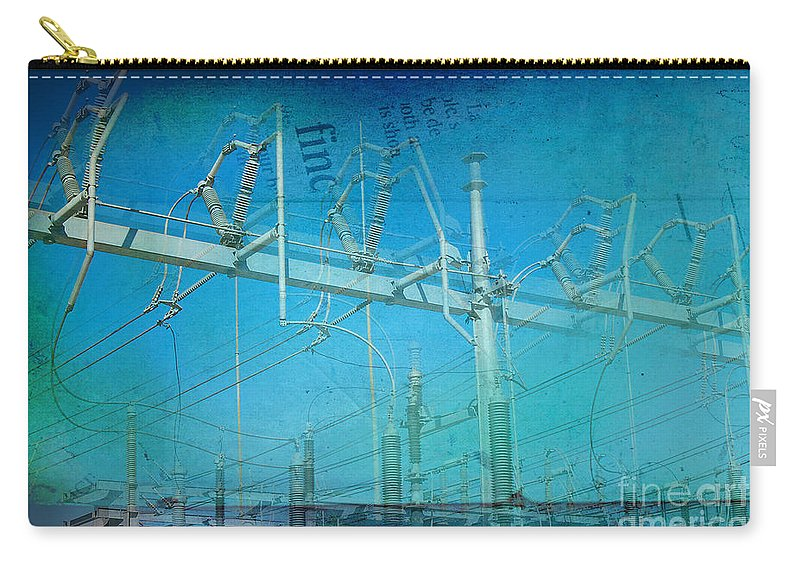 Substation Carry-all Pouch featuring the photograph Substation Insulators by Paulette B Wright