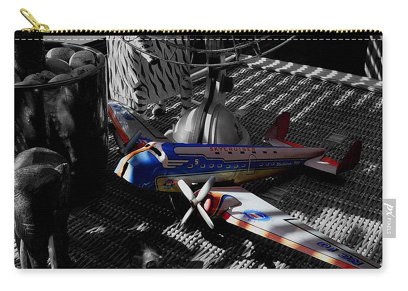 Still Life Carry-all Pouch featuring the photograph Suburban Safari The Zebra Strikes Back by Charles Stuart