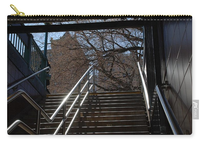 Street Scene Carry-all Pouch featuring the photograph Subway Stairs by Rob Hans