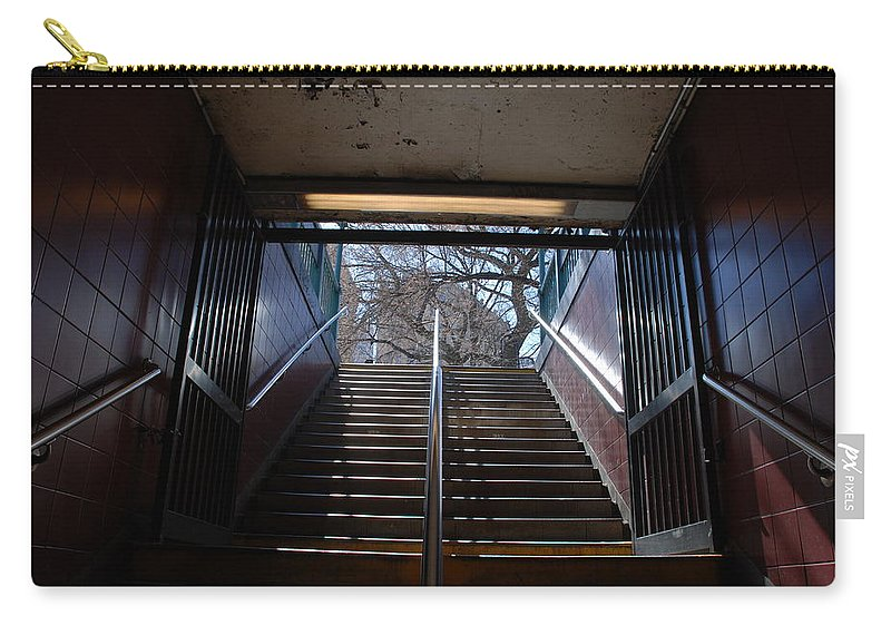 Pop Art Carry-all Pouch featuring the photograph Subway Stairs To Freedom by Rob Hans