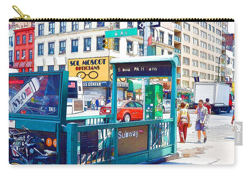 Subway Station Carry-all Pouch featuring the painting Subway Station Entrance 4 by Jeelan Clark