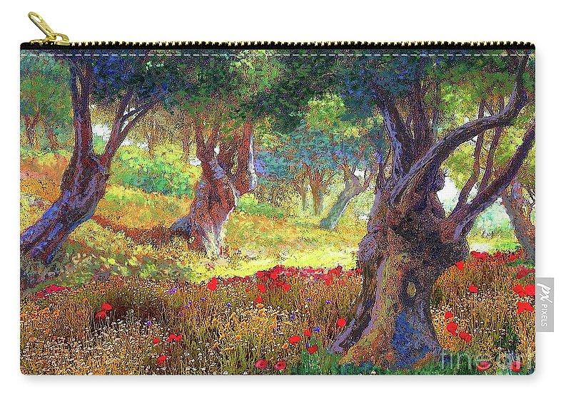 Floral Carry-all Pouch featuring the painting Poppies and Olive Trees by Jane Small