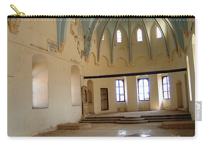 Ruins Turkey Turkish Temple Abandoned Church Pillars Vaulted Ceiling Old Carry-all Pouch featuring the photograph Such A Waste by Andrea Lawrence