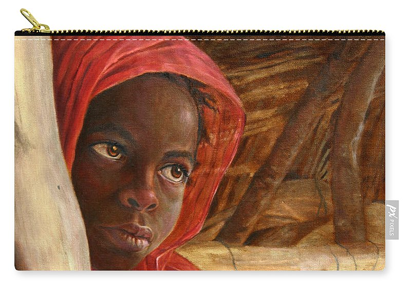 Children Painting Carry-all Pouch featuring the painting Sudanese Girl by Portraits By NC