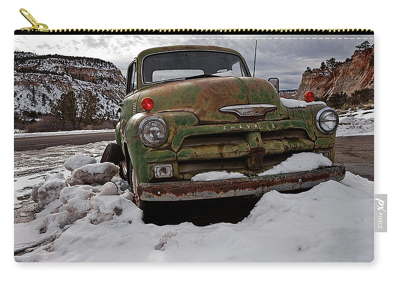 Transportation Carry-all Pouch featuring the photograph Suffering The Snow by Christopher Holmes