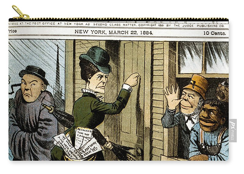 1884 Carry-all Pouch featuring the photograph Suffrage Cartoon, 1884 by Granger