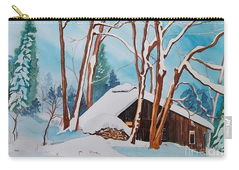 Sugar Bush Carry-all Pouch featuring the painting Sugar Bush Ripon Quebec by Lise PICHE