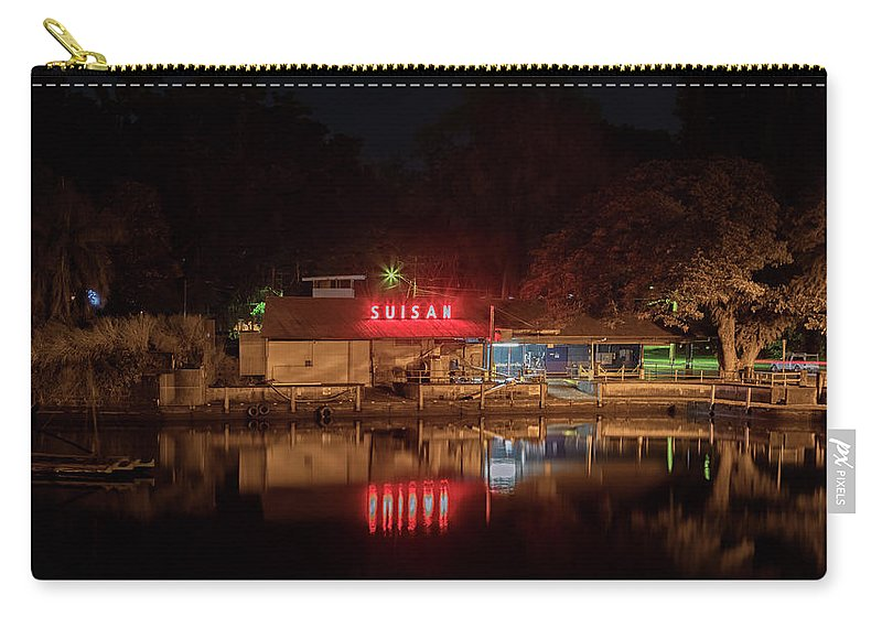 Suisan Fish Market Carry-all Pouch featuring the photograph Suisan Fish Market At Night by Susan Rissi Tregoning