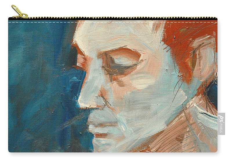 Face Carry-all Pouch featuring the painting Sullen by Tim Nyberg