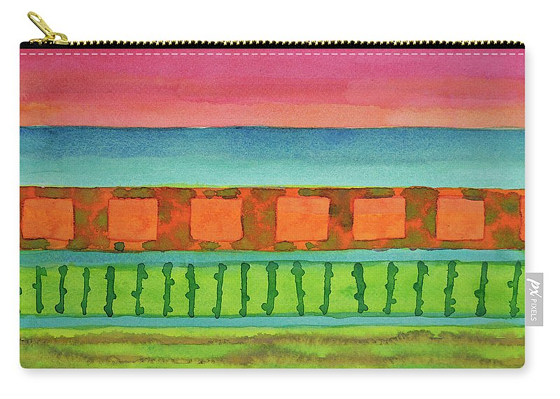 This Striped Abstract Seascape Conveys A Very Special Mood. The Colors Are Warm Carry-all Pouch featuring the painting Sultry Day At The Seaside by Heidi Capitaine
