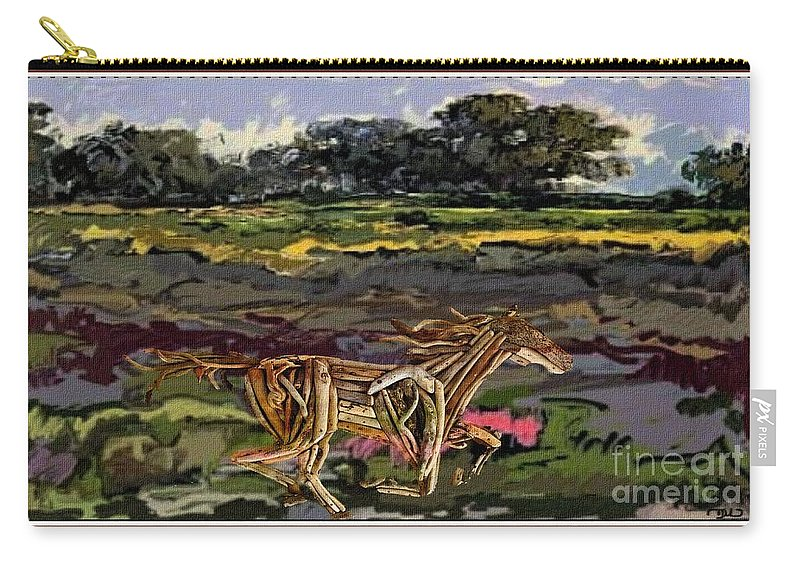 Modern Painting Carry-all Pouch featuring the mixed media Summer And Horse Statue by Pemaro