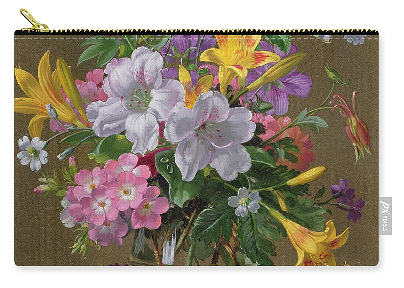 Still-life Carry-all Pouch featuring the painting Summer Arrangement In A Glass Vase by Albert Williams