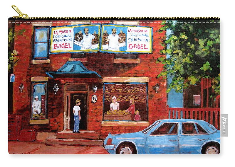 Fairmount Bagel Carry-all Pouch featuring the painting Summer At Fairmount by Carole Spandau