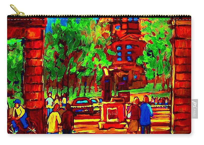 Mcgill University Carry-all Pouch featuring the painting Summer At Mcgill University by Carole Spandau