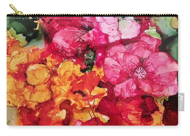 Bouquet Carry-all Pouch featuring the painting Summer Blast2 by Sally Atchinson