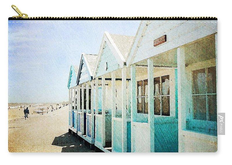 Summer Beach Beach Huts Sunshine Southward Suffolk Yellow Blue Carry-all Pouch featuring the photograph Summer Breeze by Anne Kotan