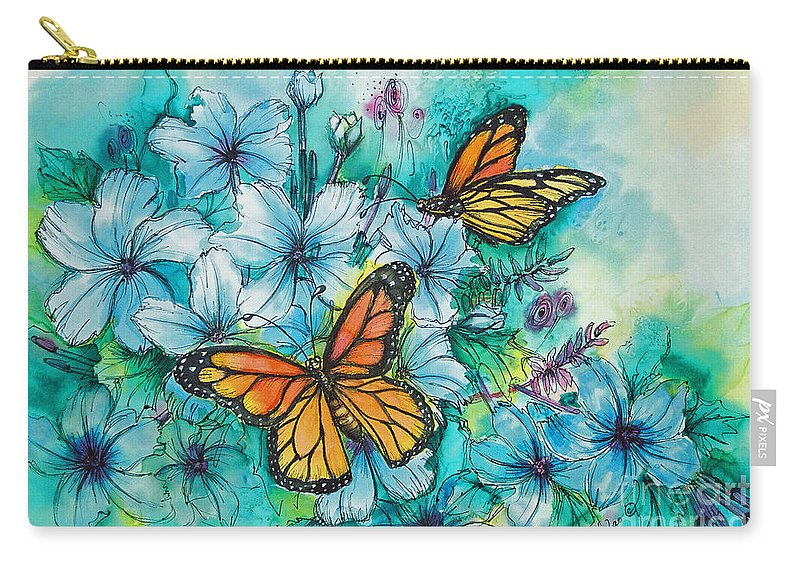 Butterfly Carry-all Pouch featuring the painting Summer Butterflies by Deborah Younglao