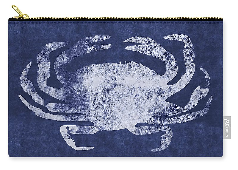 Nantucket Carry-all Pouch featuring the mixed media Summer Crab- Art By Linda Woods by Linda Woods