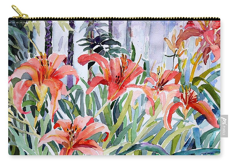 Day Lily Carry-all Pouch featuring the painting My Summer Day Liliies by Mindy Newman
