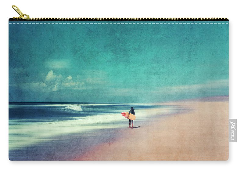Landscape Carry-all Pouch featuring the photograph Summer Days - Abstract Seascape With Surfer by Dirk Wuestenhagen