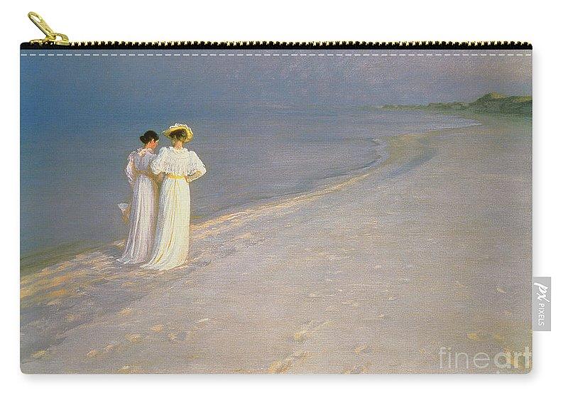 Kroyer Carry-all Pouch featuring the painting Summer Evening On The Skagen Southern Beach With Anna Ancher And Marie Kroyer by Peder Severin Kroyer