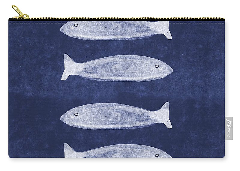 Blue Carry-all Pouch featuring the mixed media Summer Fish- Art By Linda Woods by Linda Woods
