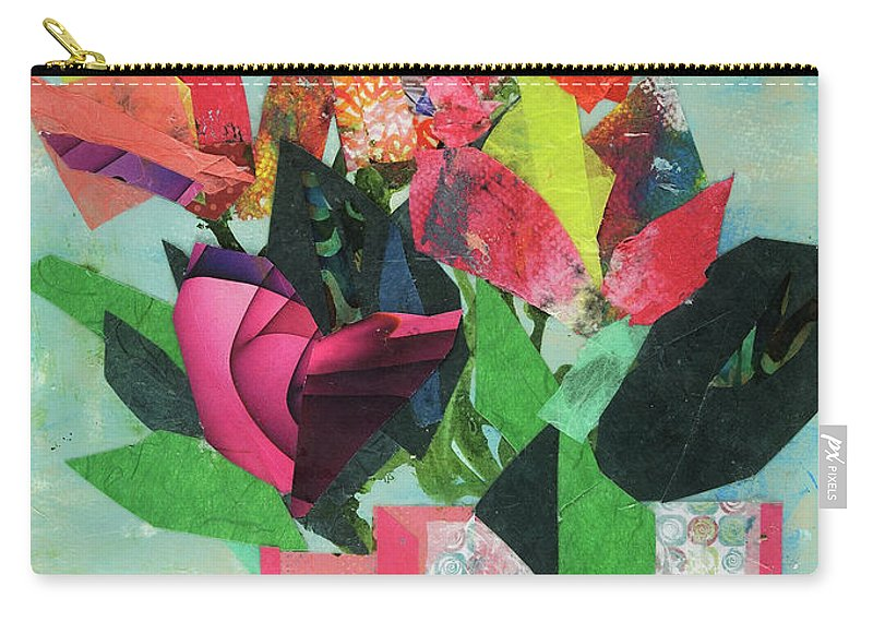Mixed Media Floral Painting Cathy Hirsh Carry-all Pouch featuring the painting Summer Frolic by Cathy Hirsh