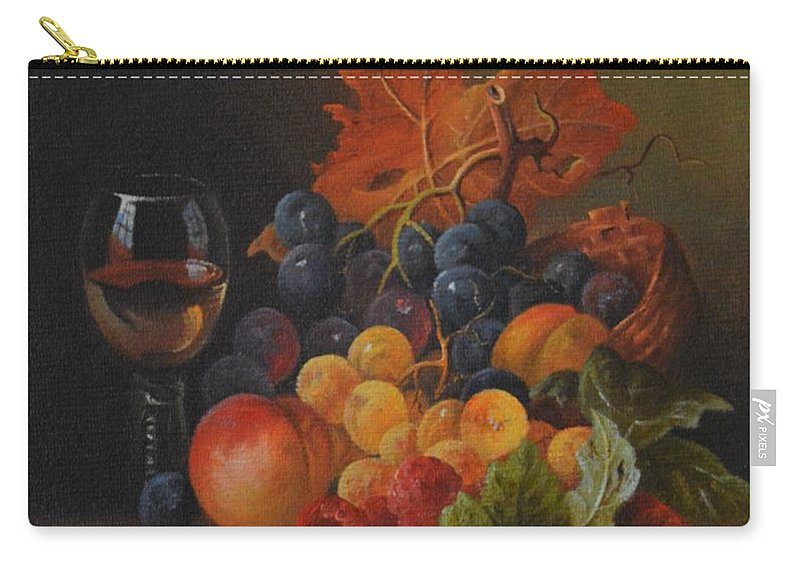 Original Fine Art Carry-all Pouch featuring the painting Classic Still Life. by Ray Gilronan