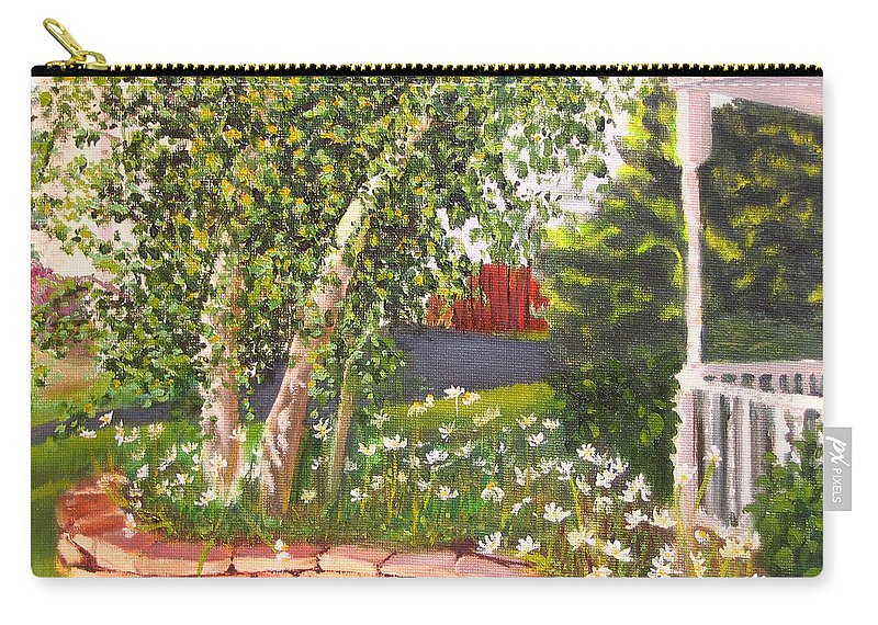 Daisies Carry-all Pouch featuring the painting Summer Garden by Lea Novak