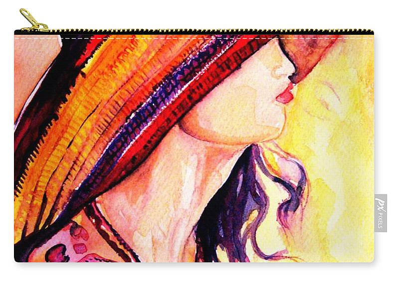 Elegant Lady Carry-all Pouch featuring the painting Summer Hat by Carole Spandau