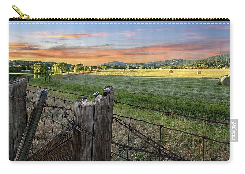 Huntsville Carry-all Pouch featuring the photograph Summer Hay Bales by Jeannee C Gannuch