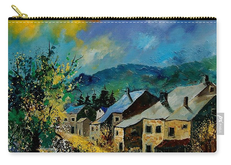 Poppies Carry-all Pouch featuring the painting Summer In Mogimont by Pol Ledent