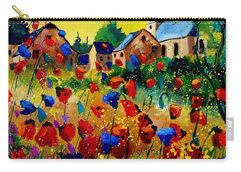 Poppy Carry-all Pouch featuring the painting Summer in Sosoye by Pol Ledent