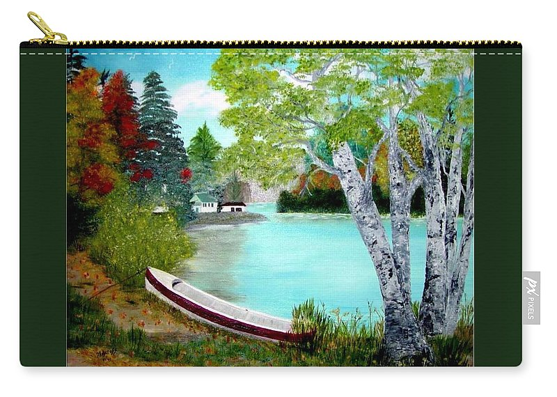 Beautiful Bracebridge Ontario Oil Painting Carry-all Pouch featuring the painting Summer In The Muskoka's by Peggy Holcroft