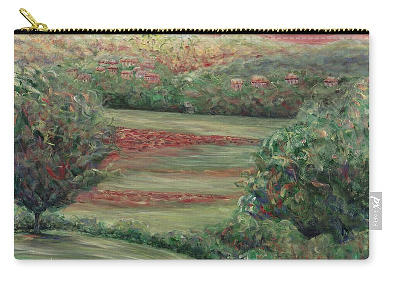 Landscape Carry-all Pouch featuring the painting Summer In Tuscany by Nadine Rippelmeyer