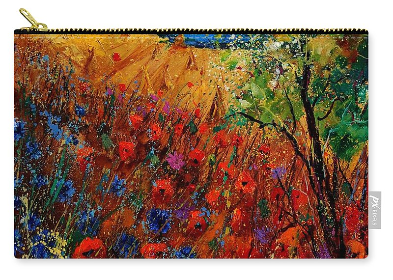 Flowers Carry-all Pouch featuring the painting Summer Landscape With Poppies by Pol Ledent