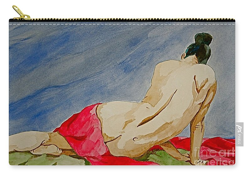 Nudes Red Cloth Carry-all Pouch featuring the painting Summer morning 2 by Herschel Fall