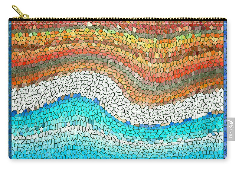 Colorful Carry-all Pouch featuring the digital art Summer Mosaic by Melissa A Benson