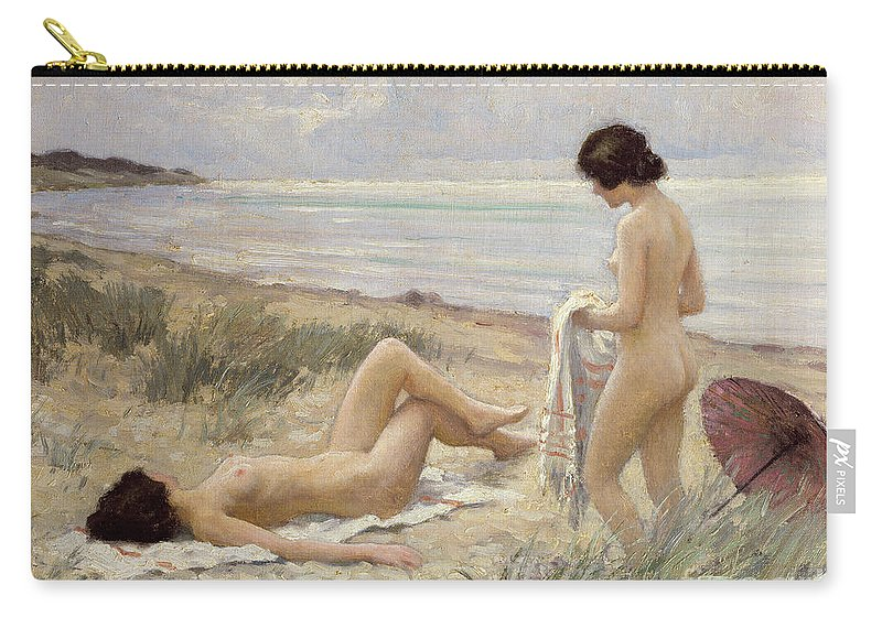 Summer On The Beach (oil On Canvas) By Paul Fischer. Sunbathing; Nude; Naked; Parasol; Beach; Coast; Female; Towel; Lesbian Carry-all Pouch featuring the painting Summer On The Beach by Paul Fischer