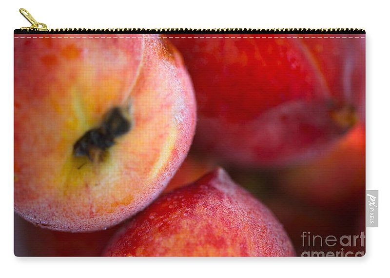 Peach Carry-all Pouch featuring the photograph Summer Peaches by Nadine Rippelmeyer
