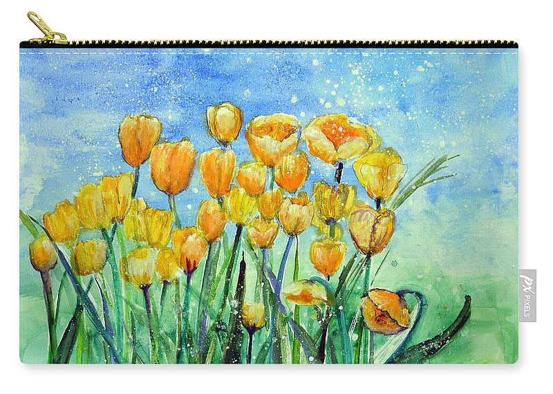 Yellow Tulips Carry-all Pouch featuring the painting Summer Snow by Ashleigh Dyan Bayer