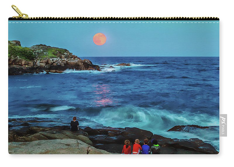 York Maine Carry-all Pouch featuring the photograph Summer Solstice Strawberry Moon by Larry Richardson